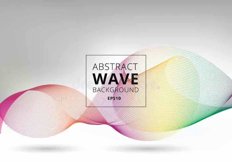 Líneas lisas abstractas de las ondas coloridas en el fondo blanco Línea líquida del arco iris de la curva del movimiento de la fo ilustración del vector