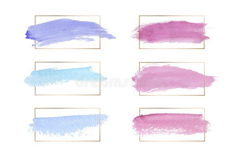 Líneas marcos del rosa, azules y púrpuras de los colores del cepillo del movimiento de la acuarela de la textura del wirh del oro ilustración del vector