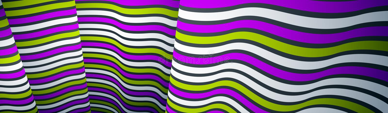 Líneas modernas de moda del extracto 3D en el fondo del vector de la perspectiva, elemento fresco del diseño dimensional, disposi libre illustration