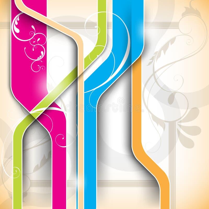 Líneas multicoloras con el fondo del diseño floral ilustración del vector