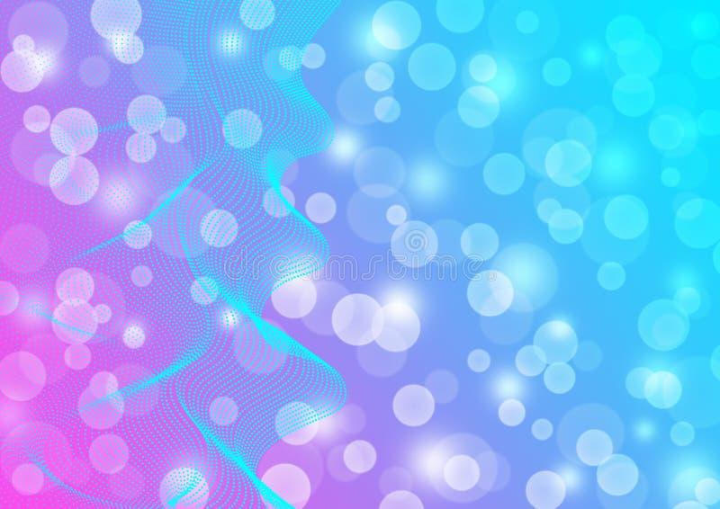 Líneas onduladas azules del extracto en rosa borroso y fondo azul stock de ilustración