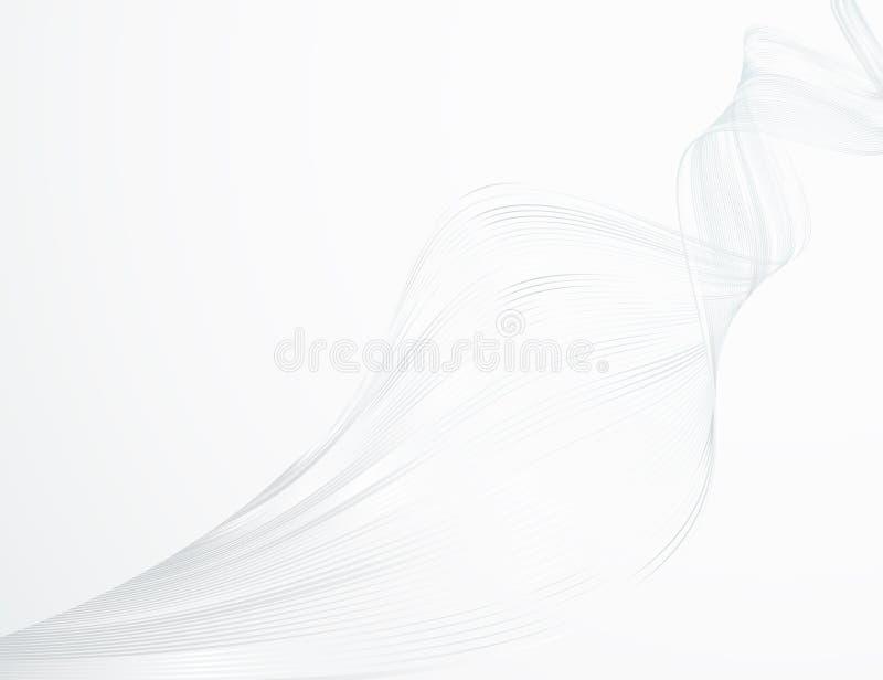 Líneas onduladas brillantes del extracto en un diseño futurista ligero blanco del ejemplo de la tecnología del fondo el modelo de ilustración del vector