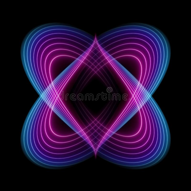 Líneas onduladas de neón, espectro ultravioleta, fondo abstracto de la moda, forma esotérica aislado en fondo negro stock de ilustración