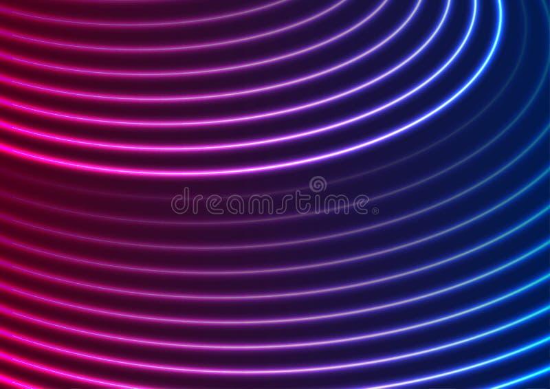 Líneas onduladas de neón púrpuras azules brillantes fondo abstracto libre illustration