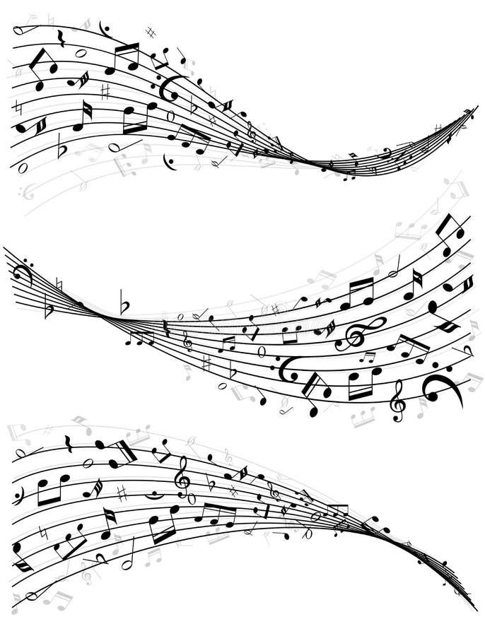 Líneas onduladas de notas de la música ilustración del vector