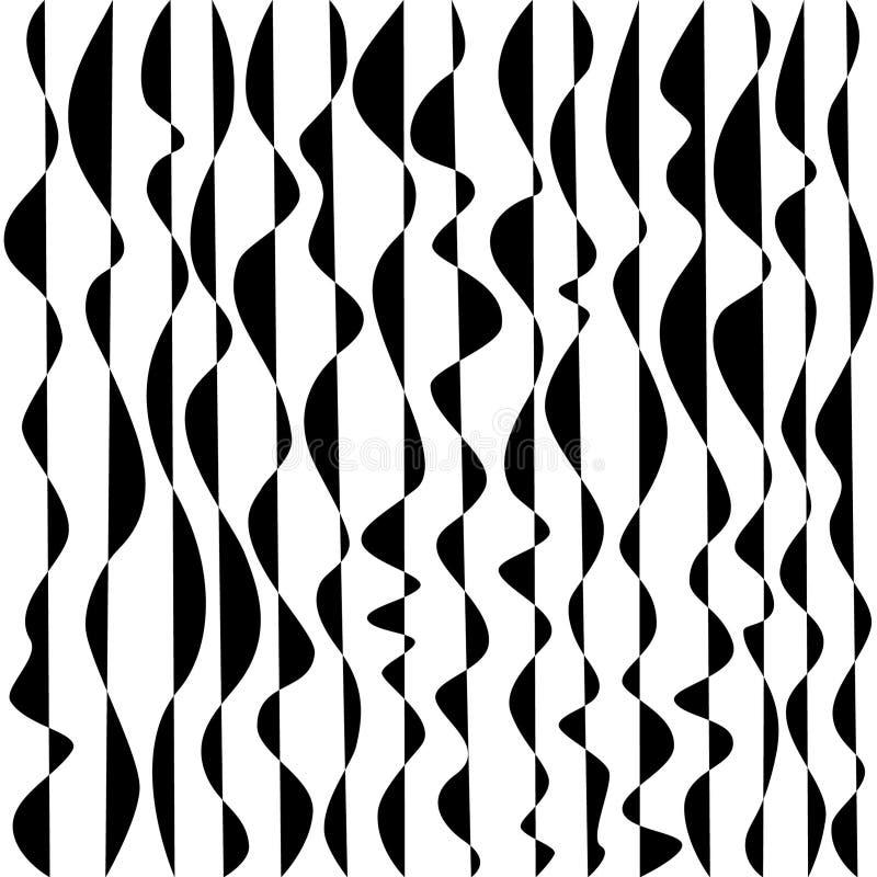 Líneas onduladas entrelazamiento, torciendo, en blanco y negro ilustración del vector
