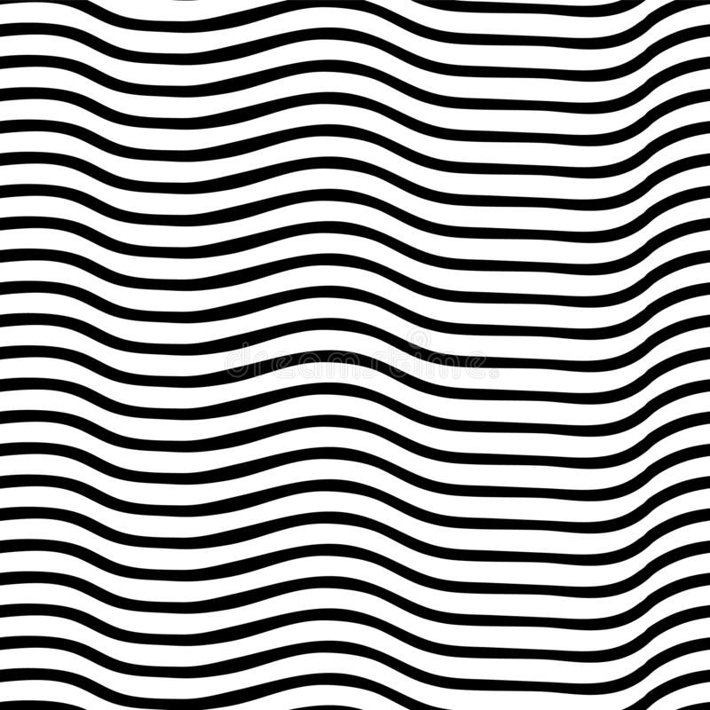 Líneas onduladas irregulares blancos y negros Vector el modelo inconsútil Perfeccione para los fondos stock de ilustración