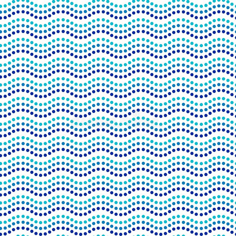 Líneas onduladas modelo inconsútil australiano étnico, vector del arte azul y blanco del punto ilustración del vector