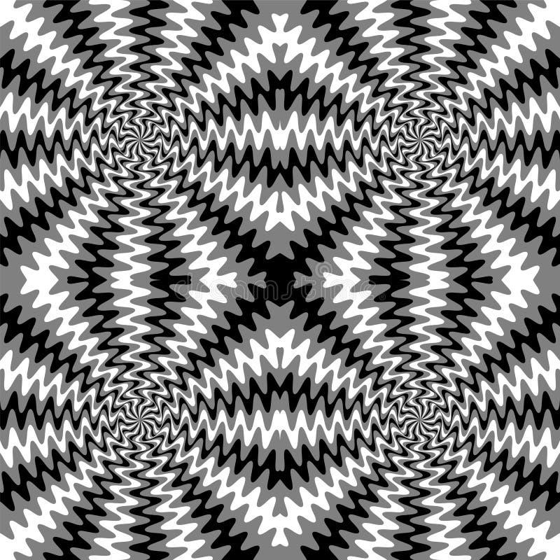 Líneas onduladas monocromáticas inconsútiles La ilusión visual del movimiento Conveniente para la materia textil, la tela, empaqu libre illustration