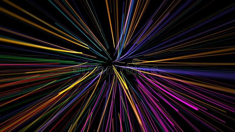 Líneas onduladas que brillan intensamente ilustración del vector