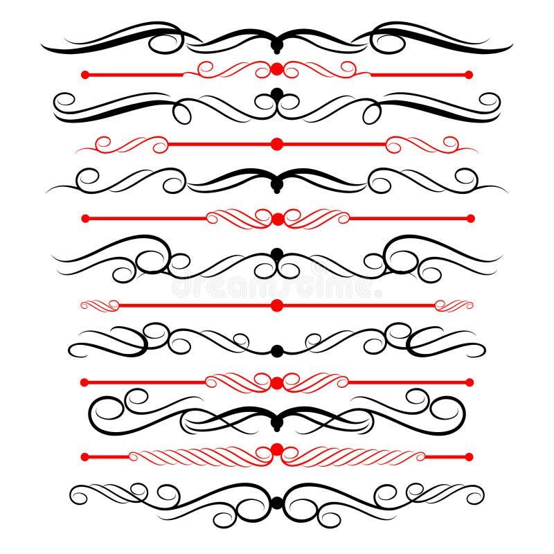 Líneas ornamentales de la regla en diversa decoración del diseño foto de archivo