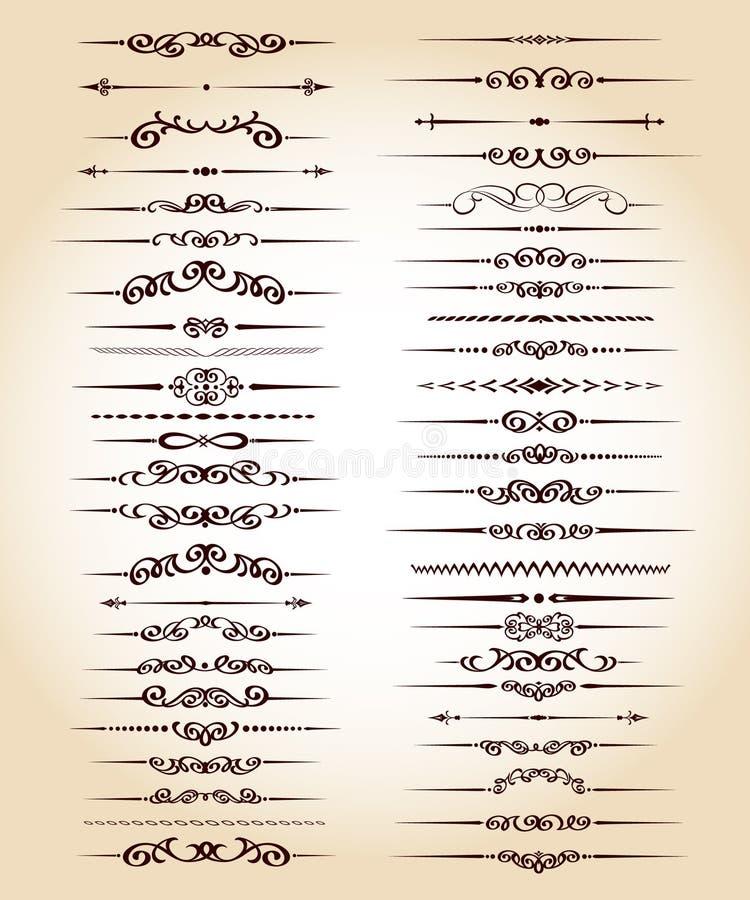 Líneas ornamentales determinadas de la regla en diverso diseño vendimia ilustración del vector