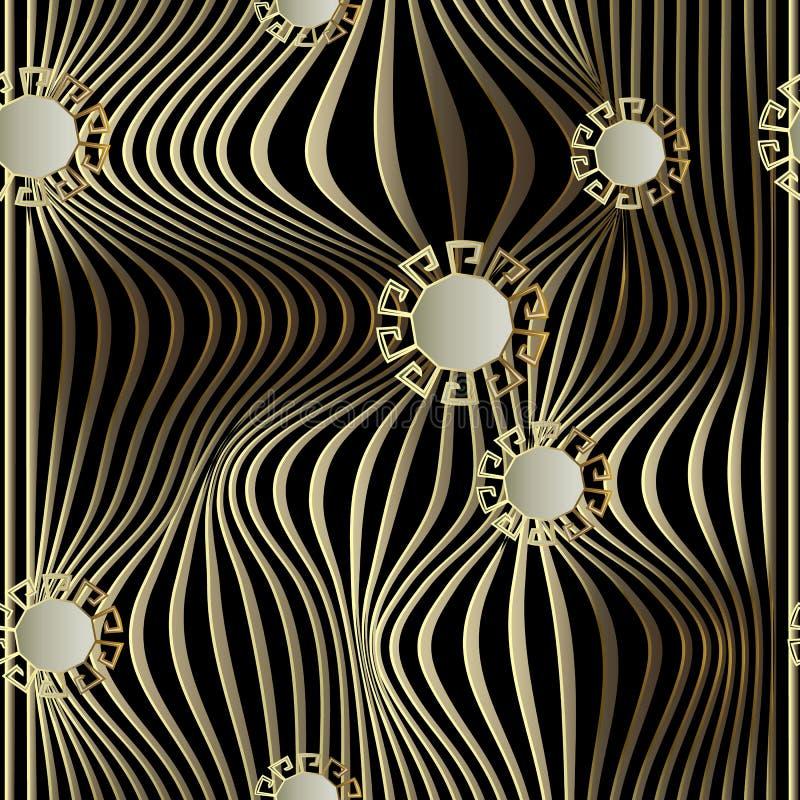 Líneas patern inconsútil de la onda del vector del oro 3d Effe de la ilusión óptica ilustración del vector