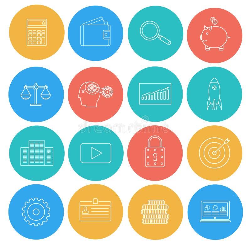 Líneas planas iconos de negocio y de finanzas ilustración del vector
