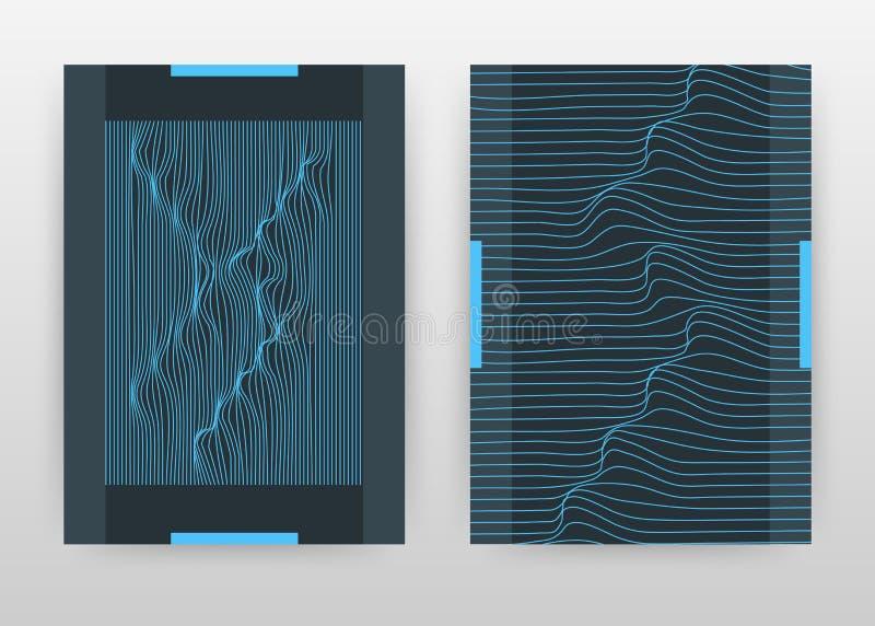 Líneas que agitan azules geométricas diseño de negocio para el informe anual, folleto, aviador, cartel Geometría que agita vector libre illustration