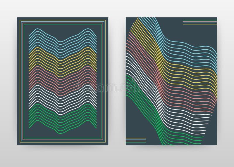 Líneas que agitan coloridas geométricas diseño de negocio para el informe anual, folleto, cartel Vector texturizado geométrico de stock de ilustración