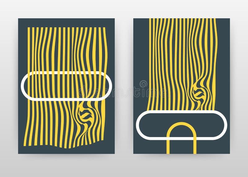 Líneas que agitan geométricas diseño de negocio amarillo para el informe anual, folleto, aviador, cartel Vector geométrico del fo ilustración del vector