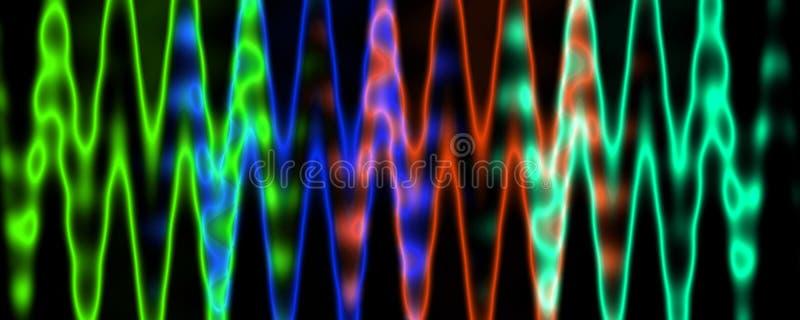 Líneas que brillan intensamente borrosas multicoloras aisladas en fondo negro Modulación de amplitud libre illustration