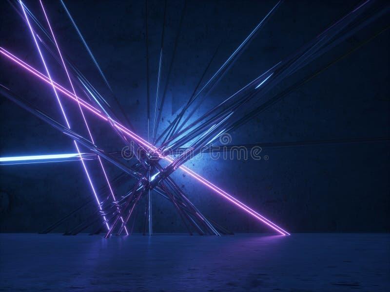 Líneas que brillan intensamente de neón Papel pintado de escritorio futurista ilustración del vector