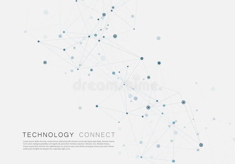 Líneas que conectan puntos de rejilla creativos en superficie Fondo abstracto de la cubierta libre illustration
