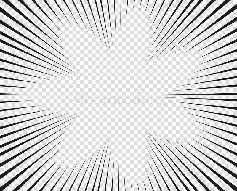 Líneas radiales del vector Concepto de velocidad, movimiento, color negro Manga de los elementos del diseño, historieta, tebeos F libre illustration