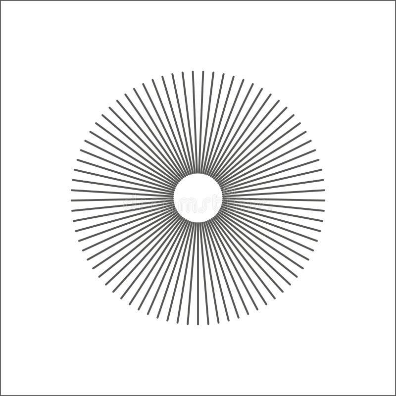 Líneas radiales elemento geométrico del extracto Rayos, irradiando rayas ilustración del vector