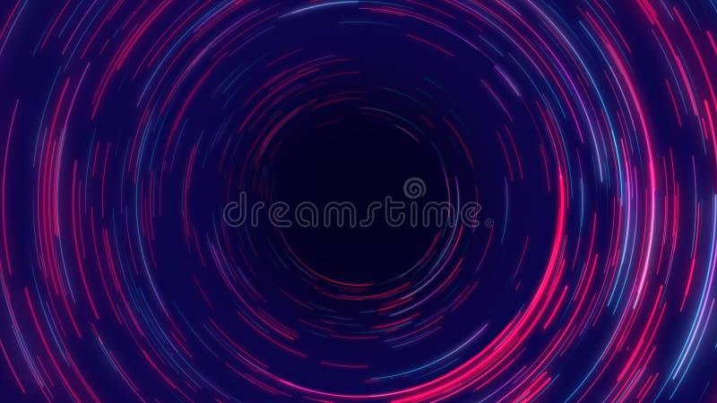 Líneas radiales fondo de la circular abstracta azul, púrpura y rosada del túnel del efecto ilustración del vector