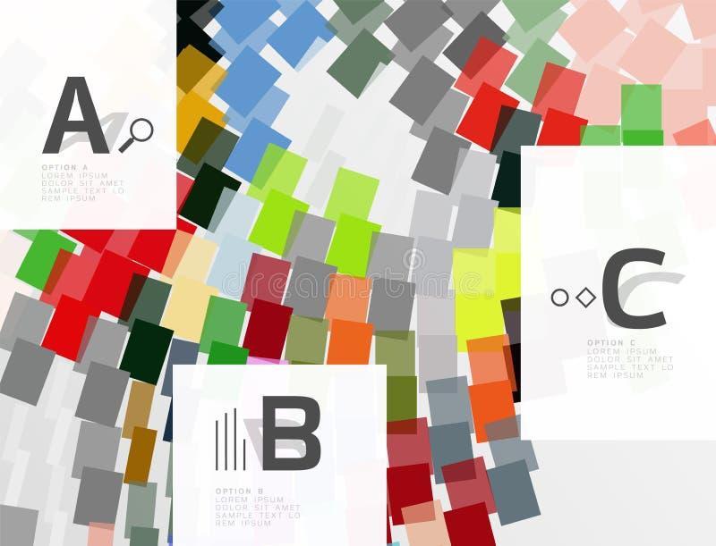 Líneas, rectángulos y rayas coloridos con infographics de la opción stock de ilustración