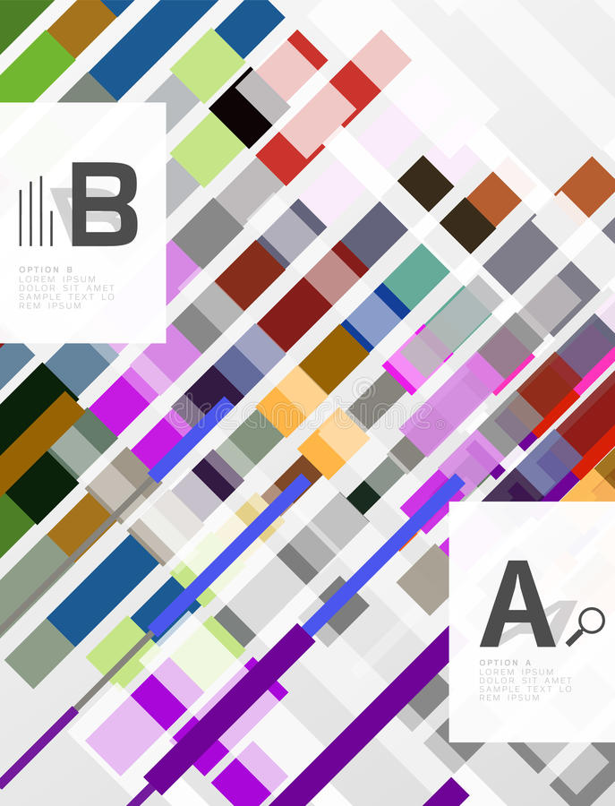 Líneas, rectángulos y rayas coloridos con infographics de la opción libre illustration