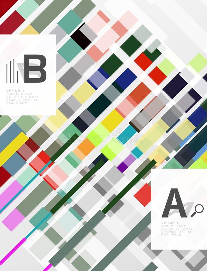 Líneas, rectángulos y rayas coloridos con infographics de la opción ilustración del vector