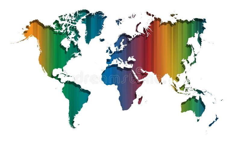 Líneas rectas coloridas abstractas mapa del mundo libre illustration