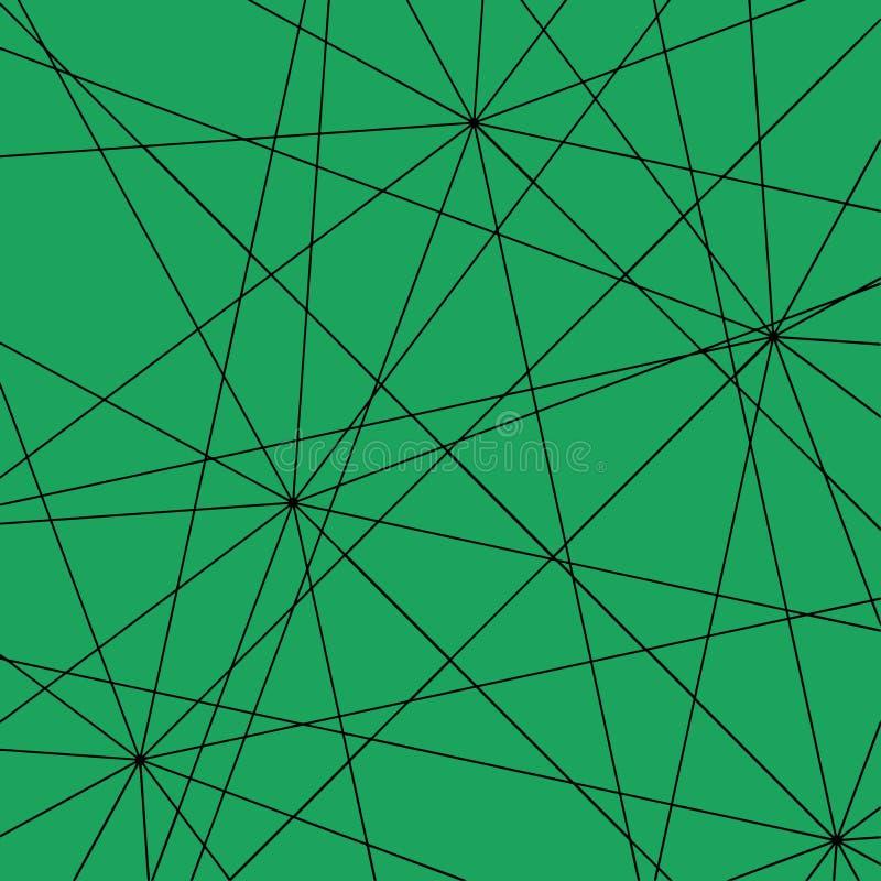 Líneas rectas de intersección negras en un fondo esmeralda ilustración del vector