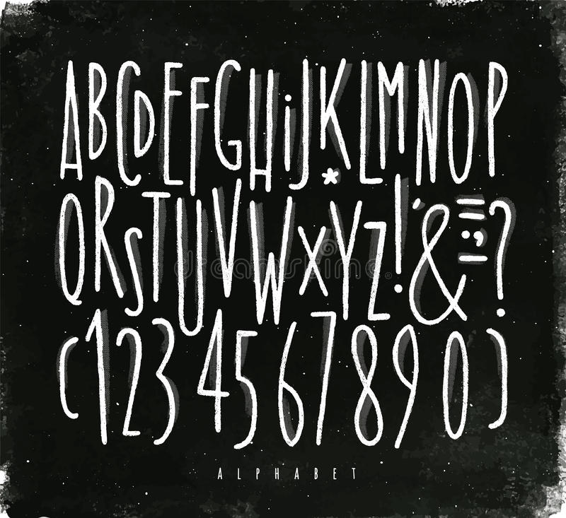 Líneas rectas tiza del alfabeto de la fuente ilustración del vector