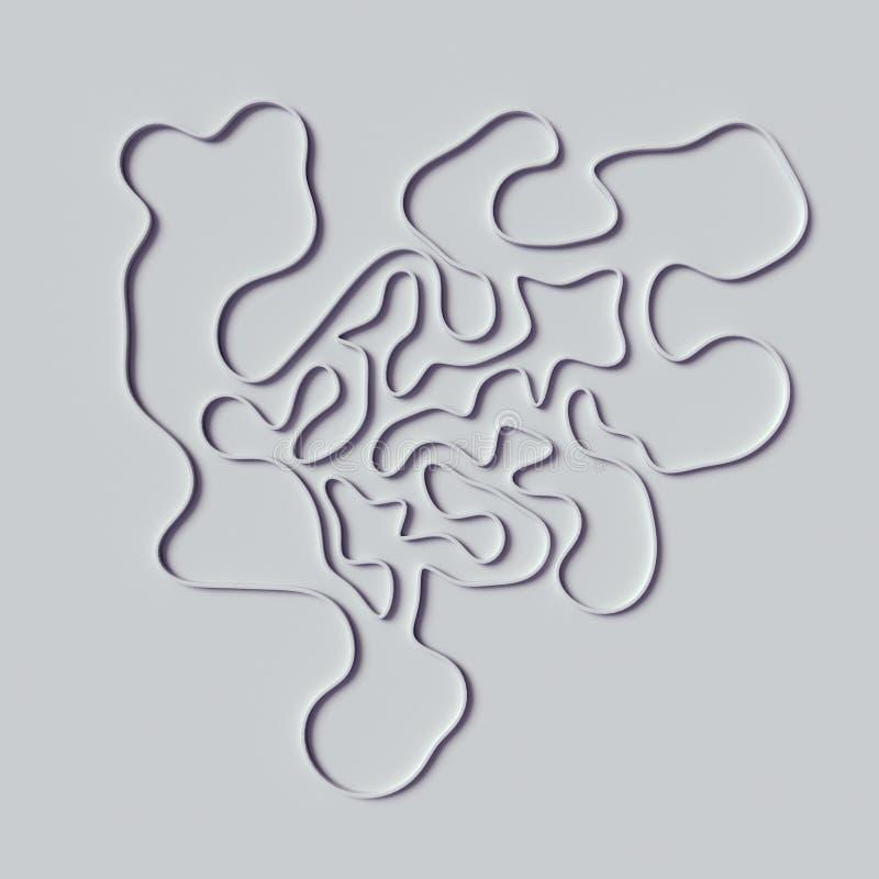 Líneas rizadas abstractas representación del ornamento 3d fotos de archivo