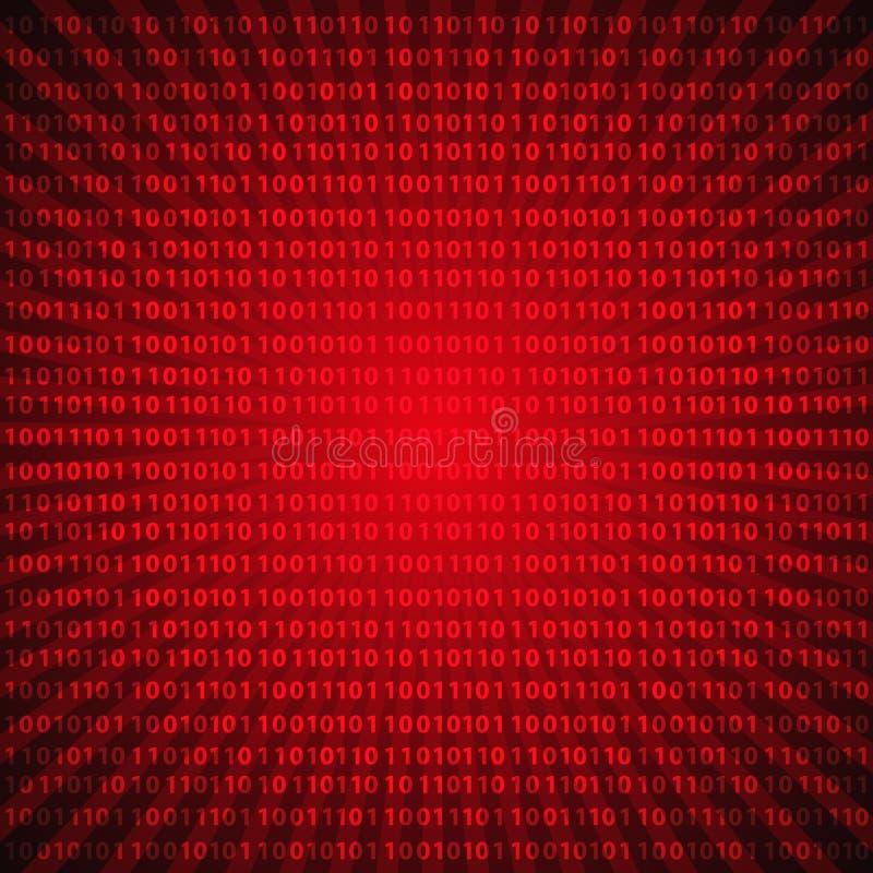 Líneas rojas fondo eps10 de los dígitos místicos abstractos del código binario stock de ilustración