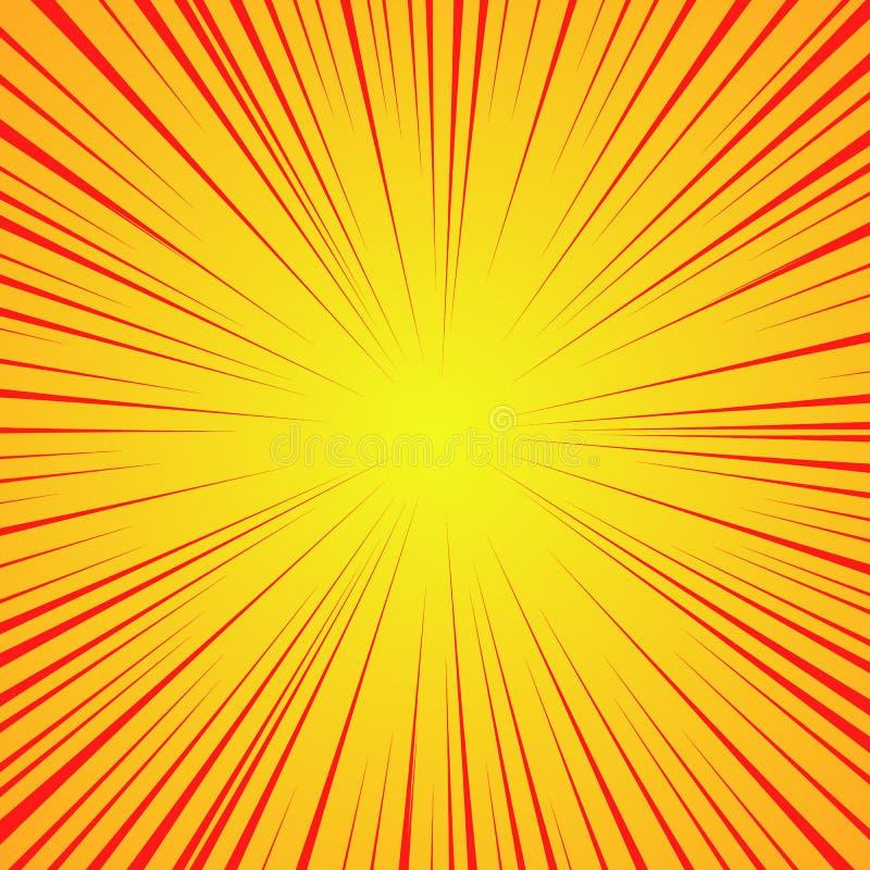 Líneas rojas radiales en un fondo amarillo Velocidad del cómic, explosión Extracto Ejemplo del vector para el diseño gráfico ilustración del vector