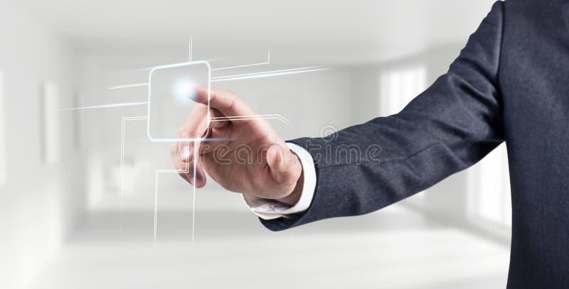 Líneas simples digial conmovedoras de la mano del hombre de negocios fotos de archivo libres de regalías