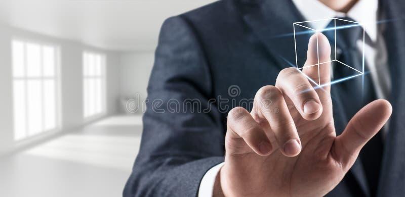 Líneas simples digial conmovedoras de la mano del hombre de negocios imagen de archivo