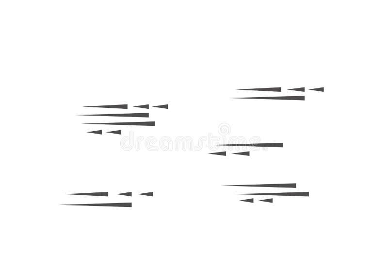 Líneas sistema aislado de la velocidad Efecto del movimiento para su diseño Líneas negras en el fondo blanco Ilustración del vect stock de ilustración