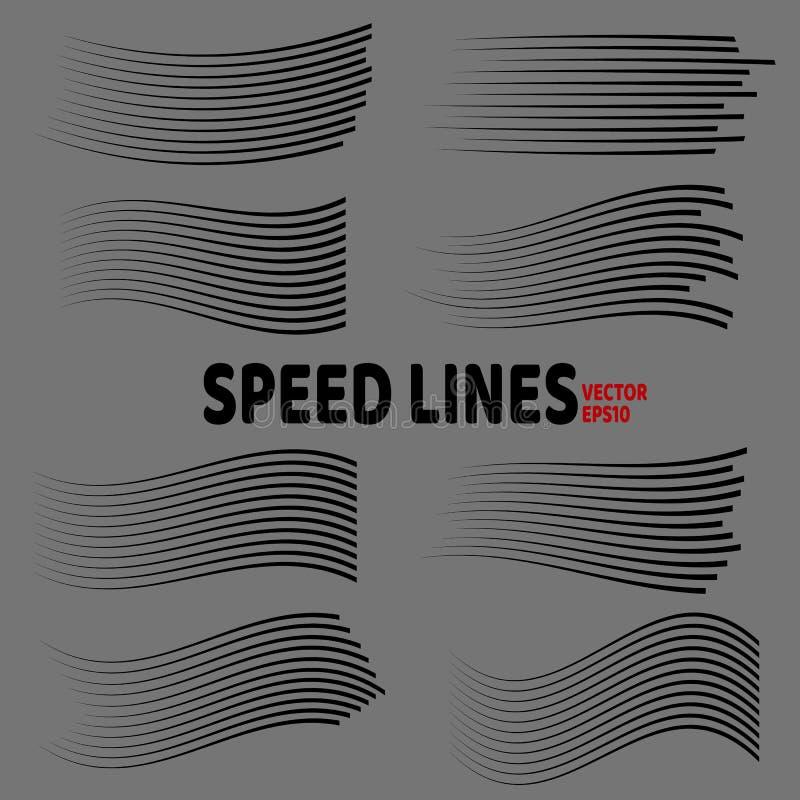 Líneas sistema aislado de la velocidad Líneas negras en fondo gris ilustración del vector