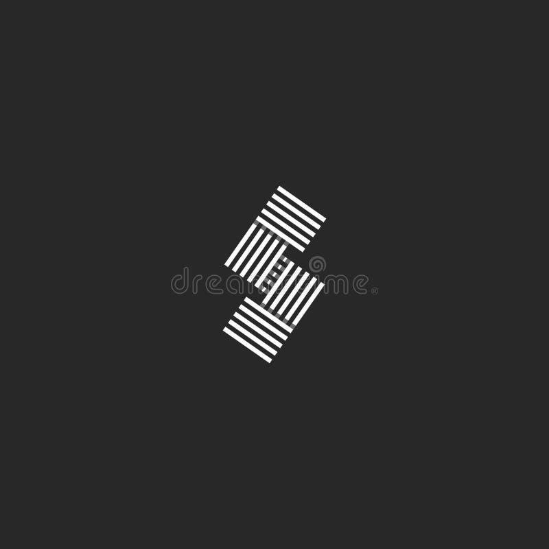 Líneas traslapadas rayadas blancos y negros elemento linear del paralelo del monograma del logotipo de la letra S del diseño Inic ilustración del vector