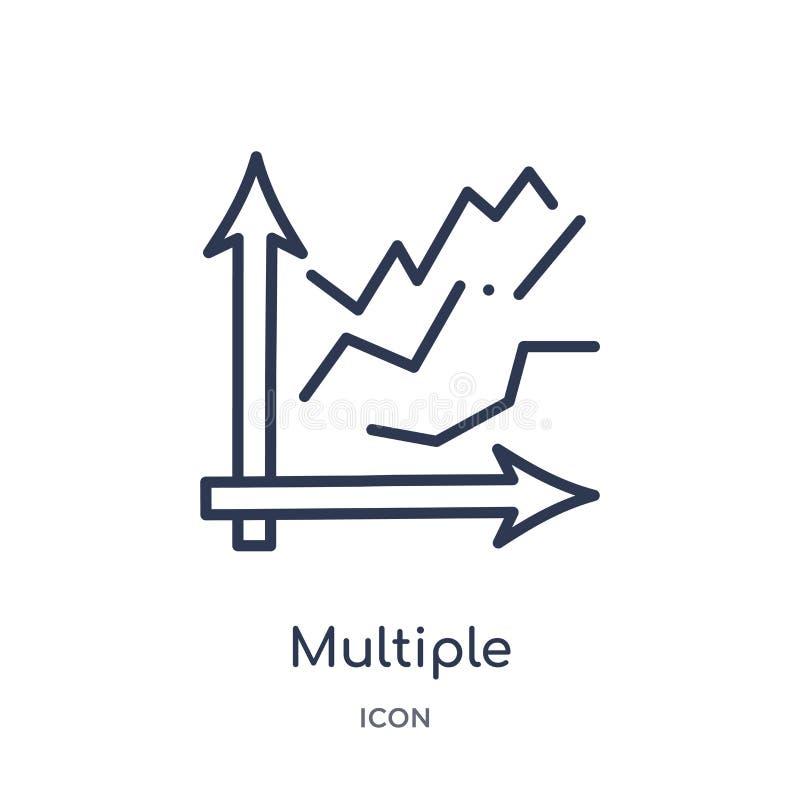 líneas variables múltiples icono de la colección del esquema de la interfaz de usuario Línea fina líneas variables múltiples icon ilustración del vector