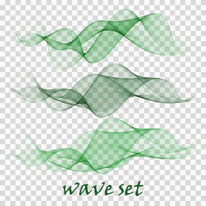 Líneas verdes transparentes del diseño del humo del ejemplo del movimiento del flujo de la curva del vector de la onda abstracta  stock de ilustración