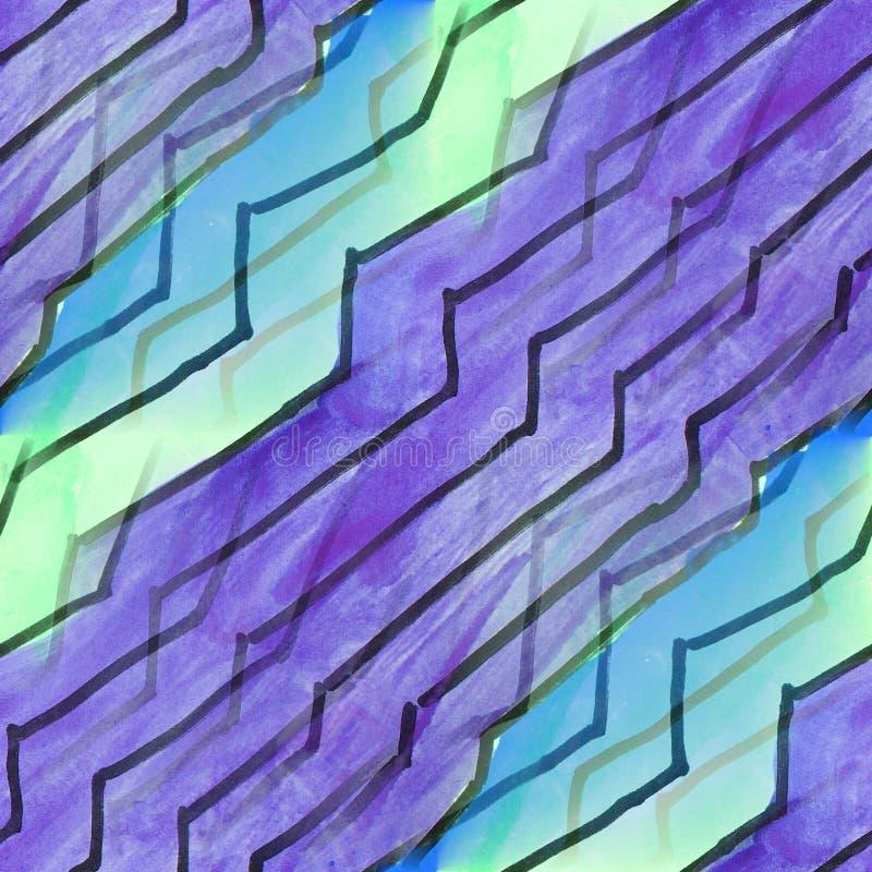 Líneas verdes, violetas, azules inconsútiles papel pintado m del artista de la acuarela ilustración del vector