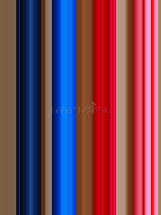 Líneas verticales de la marina de guerra, azules, rojas y rosadas, fondo marrón stock de ilustración