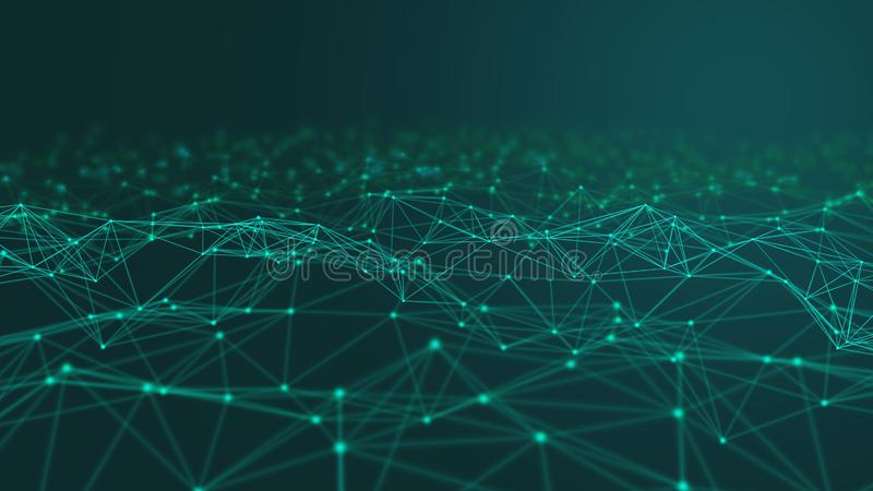 Líneas y esferas del triángulo de los datos de Digitaces y de la conexión de red en concepto futurista de la informática en el ne ilustración del vector