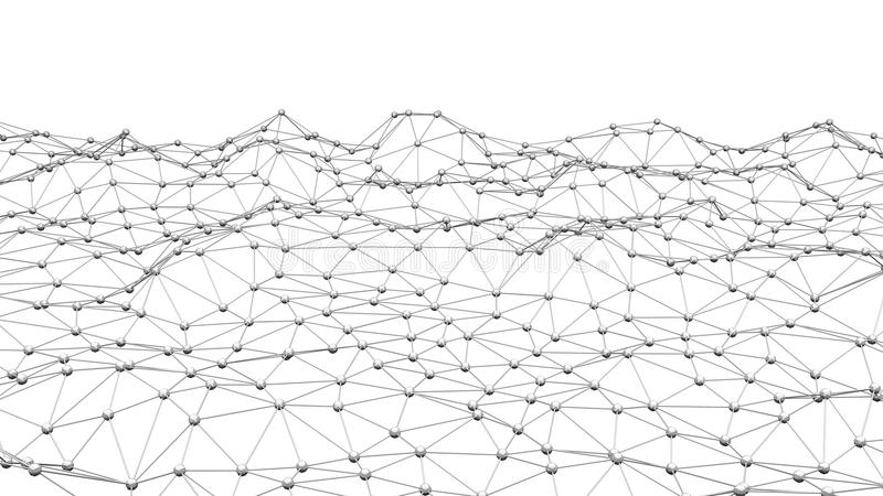 Líneas y esferas del triángulo de los datos de Digitaces y de la conexión de red i ilustración del vector