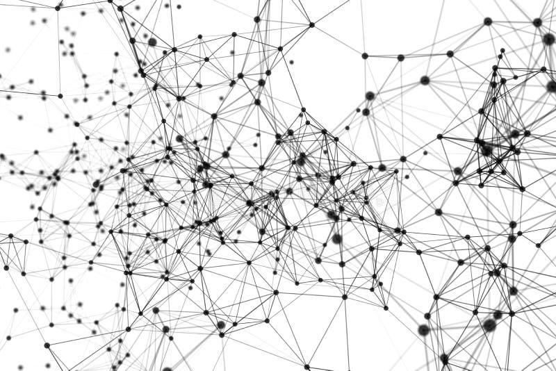 Líneas y esferas negras del triángulo de los datos digitales y de la conexión de red en concepto futurista de la tecnología en el libre illustration