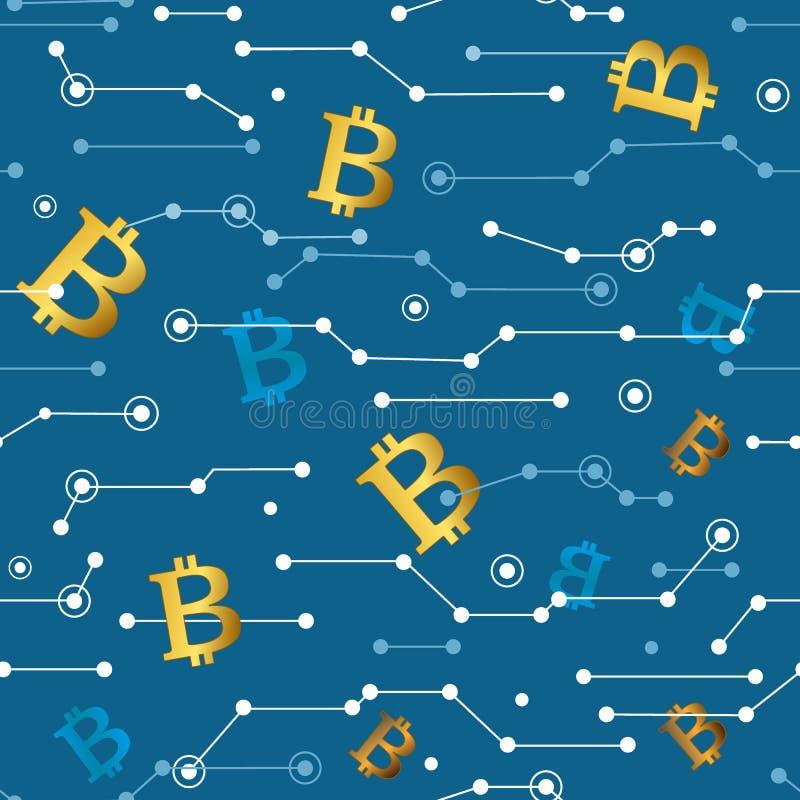 Líneas y modelo inconsútil de Bitcoins Ejemplo del vector, artículos financieros de Cryptocurrency ilustración del vector