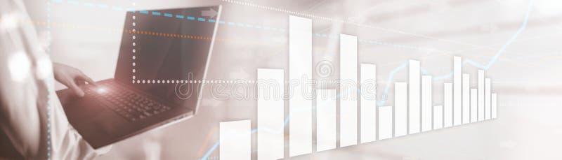 Líneas y perspectiva que va de las flechas Carta del mercado de acci?n Fondo de la presentaci?n fotografía de archivo